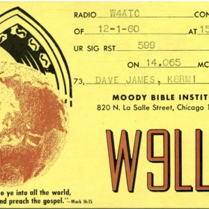 QSL Card from W9LLW, Chicago, Ill., to W4ATC, NC State Student Amateur Radio