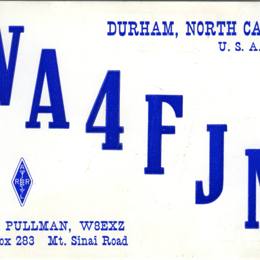 QSL Card from WA4FJM, Durham, N.C., to W4ATC, NC State Student Amateur Radio