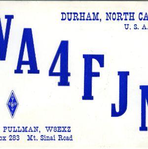 QSL Card from WA4FJM, Durham, N.C., to W4ATC, NC State Student Amateur Radio