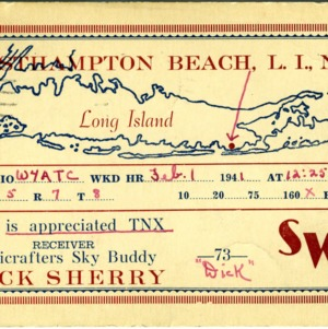 QSL Card from SWL, Westhampton, Long Island, N.Y., to W4ATC, NC State Student Amateur Radio
