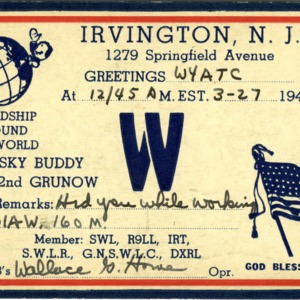 QSL Card from SWL, Irvington, N.J., to W4ATC, NC State Student Amateur Radio