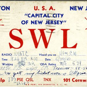 QSL Card from SWL, Trenton, N.J., to W4ATC, NC State Student Amateur Radio