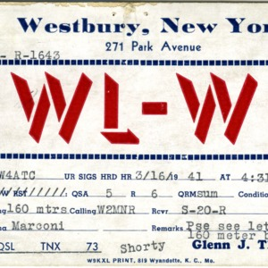 QSL Card from SWL-W2, Westbury, N.Y., to W4ATC, NC State Student Amateur Radio