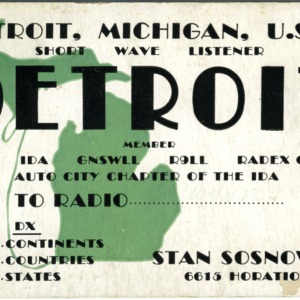 QSL Card from Detroit, Mich., to W4ATC, NC State Student Amateur Radio