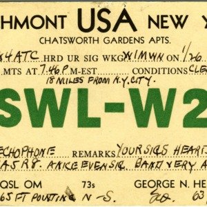 QSL Card from SWL-W2, Larchmont, N.Y., to W4ATC, NC State Student Amateur Radio