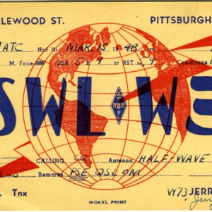 QSL Card from SWLW3, Pittsburgh, Pa., to W4ATC, NC State Student Amateur Radio
