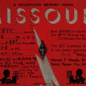 QSL Card from Kansas City, Mo., to W4ATC, NC State Student Amateur Radio