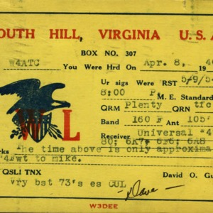 QSL Card from South Hill, Va., to W4ATC, NC State Student Amateur Radio