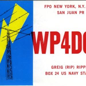 QSL Card from WP4DQL, New York, N.Y., to W4ATC, NC State Student Amateur Radio