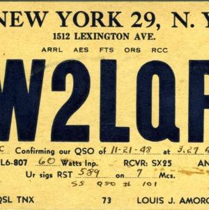 QSL Card from W2LQP, New York, N.Y., to W4ATC, NC State Student Amateur Radio
