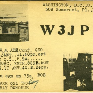 QSL Card from W3JPD, Washington, D.C., to W4ATC, NC State Student Amateur Radio