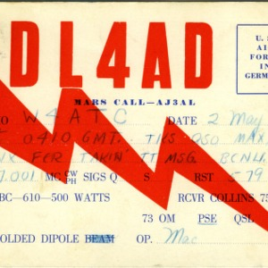 QSL Card from DL4AD, Germany, to W4ATC, NC State Student Amateur Radio