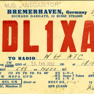QSL Card from DL1XA, Bremerhaven, Germany, to W4ATC, NC State Student Amateur Radio
