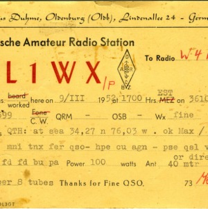 QSL Card from DL1WX, Oldenburg, Germany, to W4ATC, NC State Student Amateur Radio
