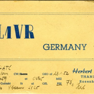 QSL Card from DL1VR, Rosenheim, Germany, to W4ATC, NC State Student Amateur Radio