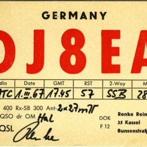 QSL Card from DJ8EA, Kassel, Germany, to W4ATC, NC State Student Amateur Radio