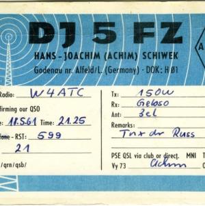 QSL Card from DJ5FZ, Alfeld, Germany, to W4ATC, NC State Student Amateur Radio