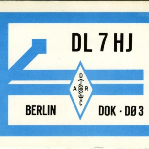QSL Card from DL7HJ, Berlin, Germany, to W4ATC, NC State Student Amateur Radio