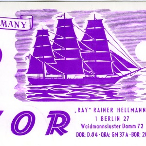 QSL Card from DL7OR, Berlin, Germany, to W4ATC, NC State Student Amateur Radio