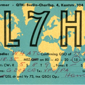 QSL Card from DL7HT, Berlin, Germany, to W4ATC, NC State Student Amateur Radio