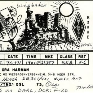 QSL Card from DA1HO, Wiesbaden/Erbenheim, to W4ATC, NC State Student Amateur Radio