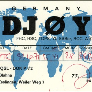 QSL Card from DJ0YD, Esslingen, Germany, to W4ATC, NC State Student Amateur Radio