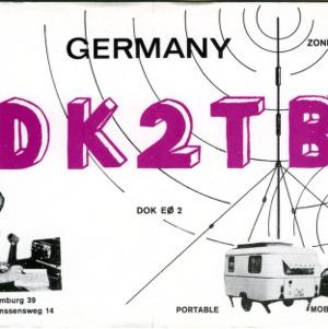 QSL Card from DK2TB, Hamburg, Germany, to W4ATC, NC State Student Amateur Radio