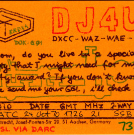 QSL Card from DJ4UF, Aachen, Germany, to W4ATC, NC State Student Amateur Radio