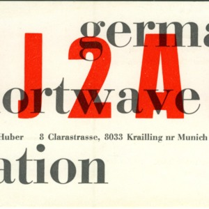 QSL Card from DJ2AA, Munich, Germany, to W4ATC, NC State Student Amateur Radio