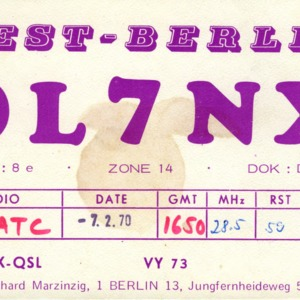 QSL Card from DL7NX, West-Berlin, Germany, to W4ATC, NC State Student Amateur Radio