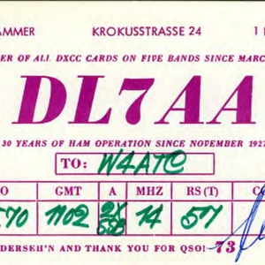 QSL Card from DL7AA, Berlin, Germany, to W4ATC, NC State Student Amateur Radio