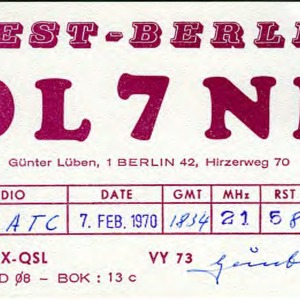 QSL Card from DL7NB, West-Berlin, Germany, to W4ATC, NC State Student Amateur Radio