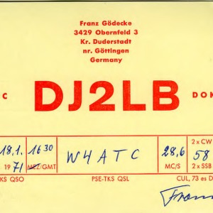 QSL Card from DJ2LB, Duderstadt, Germany, to W4ATC, NC State Student Amateur Radio