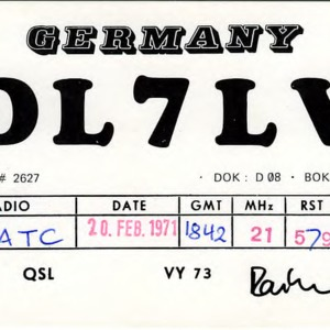 QSL Card from DL7LV, Berlin, Germany, to W4ATC, NC State Student Amateur Radio