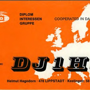 QSL Card from DJ1HB, Lippstadt, Germany, to W4ATC, NC State Student Amateur Radio
