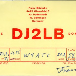 QSL Card from DJ2LB, Gottingen, Germany, to W4ATC, NC State Student Amateur Radio