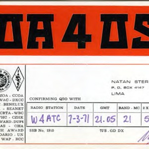 QSL Card from OA4OS, Lima, Peru, to W4ATC, NC State Student Amateur Radio