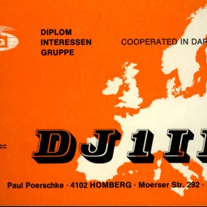 QSL Card from DJ1IK, Homberg. Germany, to W4ATC, NC State Student Amateur Radio