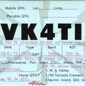 QSL Card from VK4TI, Chevron Island, Australia, to W4ATC, NC State Student Amateur Radio