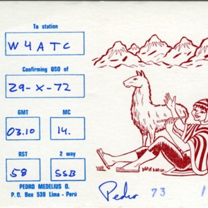 QSL Card from OA4AHA, Lima, Peru, to W4ATC, NC State Student Amateur Radio