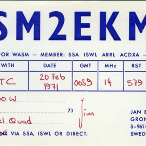 QSL Card from SM2EKM, Boden, Sweden, to W4ATC, NC State Student Amateur Radio