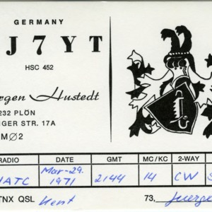 QSL Card from 1971-03-29, Hustedt, Germany, to W4ATC, NC State Student Amateur Radio