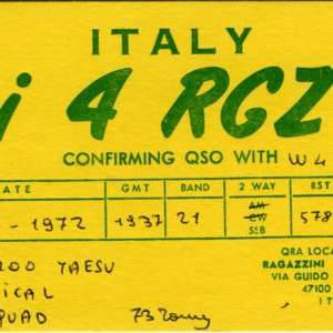 QSL Card from i 4 RGZ, Pierantonio, Italy, to W4ATC, NC State Student Amateur Radio