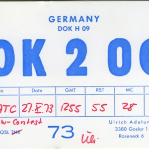 QSL Card from DK2OC, Goslar, Germany, to W4ATC, NC State Student Amateur Radio