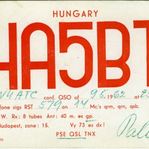 QSL Card from HA5BT, Budapest, Hungary, to W4ATC, NC State Student Amateur Radio