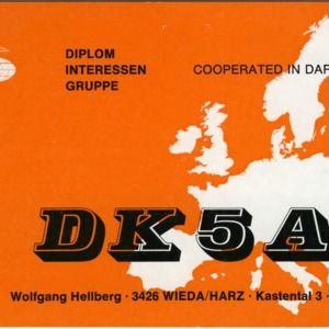 QSL Card from DK5AI, Wieda/Harz, Germany, to W4ATC, NC State Student Amateur Radio