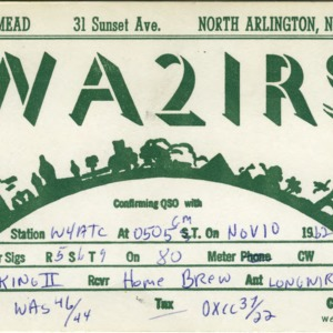 QSL Card from WA2IRS, North Arlington, N.J., to W4ATC, NC State Student Amateur Radio