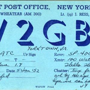 QSL Card from W2GBE, New York, N.Y., to W4ATC, NC State Student Amateur Radio