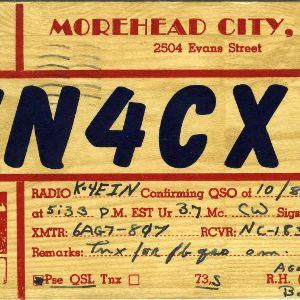 QSL Card from KN4CXO, Morehead City, N.C., to W4ATC, NC State Student Amateur Radio