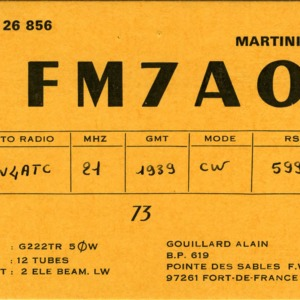 QSL Card from FM7AO, Fort de France, Martinique, to W4ATC, NC State Student Amateur Radio